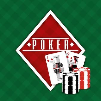 Poker znak diament karty i żetony hazard zielone tło