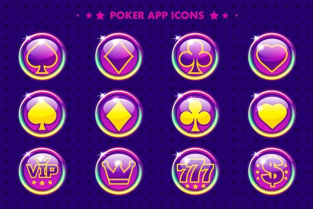 Pokera fioletowe ikony aplikacji, symbole kasyna kreskówek