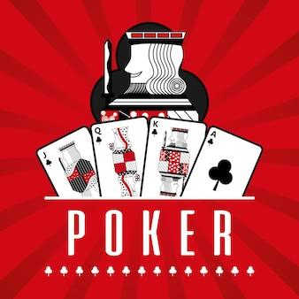 Pokład karciany kasynowy królewiątko klubów czerwieni promieni tło