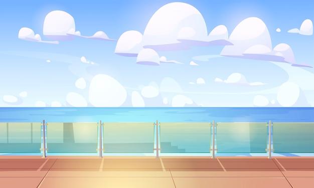 Pokład lub nabrzeże wycieczkowe ze szklaną tralką, pusty statek z drewnianą podłogą i ogrodzeniem z pleksi.