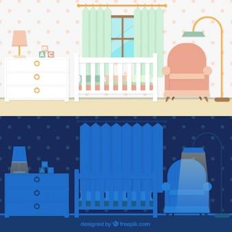 Pokój dla dziecka w dwóch momentach dnia
