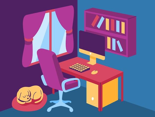 Pokój do pracy z biurkiem komputerowym i psem