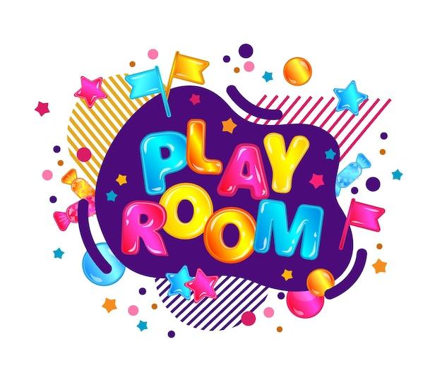 Pokój do zabawy z szablonem banera w jasnym stylu kreskówki z neonową bańką i gwiazdami