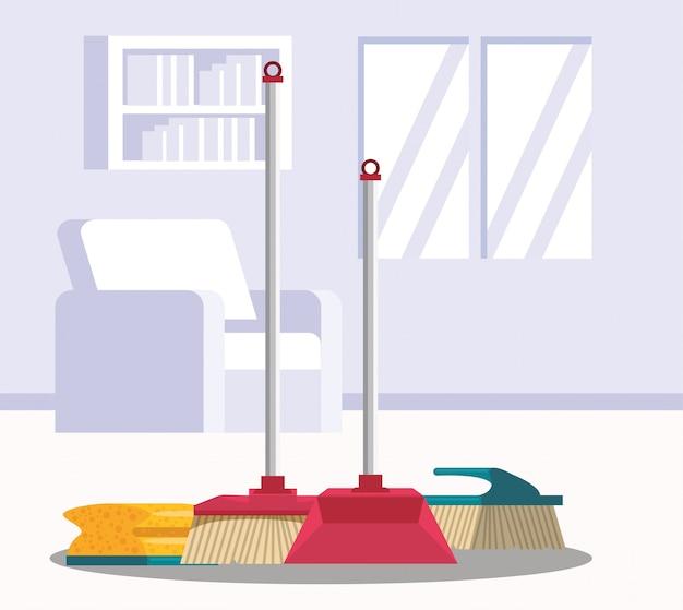 Pokój domowy ze sprzętem do sprzątania