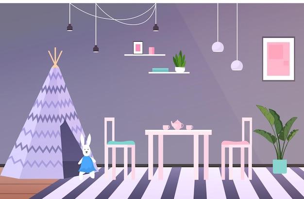 Pokój dziecięcy wnętrze puste nie ma ludzi pokój zabaw dla dziecka pozioma wektorowa ilustracja