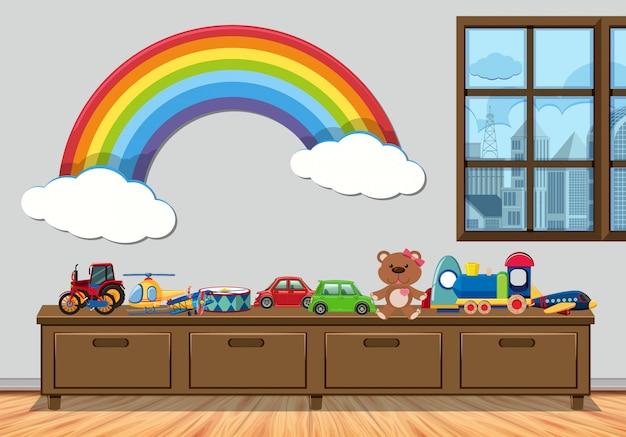 Pokój dziecięcy z oknem i zabawkami