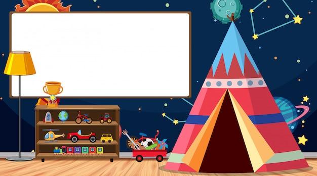Pokój dziecięcy z tablicą i namiotem