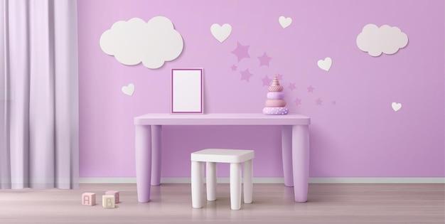 Pokój dziecięcy ze stolikiem, krzesłem, białym plakatem i chmurkami na ścianie