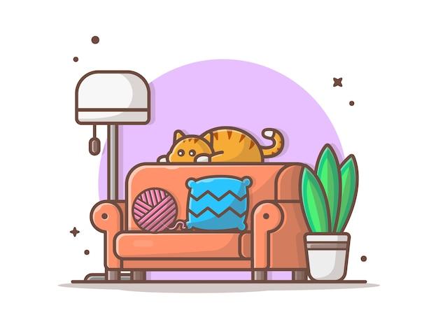 Pokój dzienny ikona wektor ilustracja