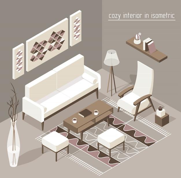 Pokój dzienny izometryczny