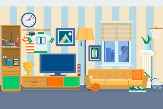 Pokój dzienny z meblami. przytulne wnętrze z sofą i telewizorem. domowa nowożytna mieszkanie projekta mieszkania stylu wektoru ilustracja