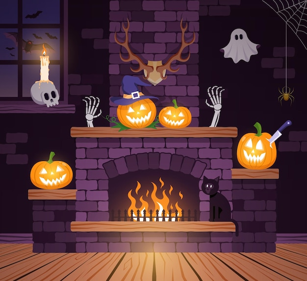 Pokój halloween w starym zamku. świąteczny kominek halloween z dyniami. ilustracja wektorowa.