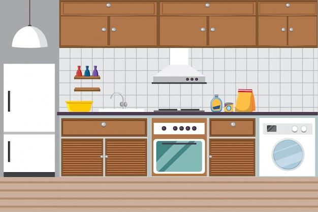 Pokój kuchenny z kuchenką i lodówką