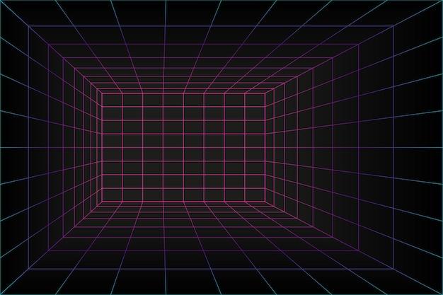 Pokój laserowy z perspektywą siatki 3d w stylu technologii. tunel wirtualnej rzeczywistości lub tunel czasoprzestrzenny. abstrakcyjne tło vaporwave