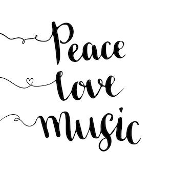 Pokój miłość muzyka. odręczne napis. ręcznie rysowane wektor wzór. natchnienie