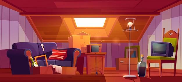 Pokój na poddaszu ze starymi rzeczami, poddasze z oknem dachowym i meblami. dyskretne miejsce z zabytkowym wyłączonym telewizorem, radiem, kartonami, butelką wina, stołem i lampą podłogową. ilustracja kreskówka
