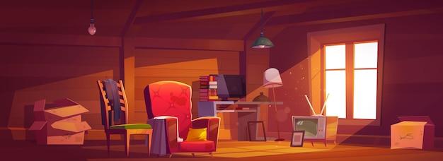 Pokój na poddaszu ze starymi rzeczami, strych z oknem, drewnianymi ścianami i meblami. przytulne miejsce z zabytkowym wyłączanym telewizorem, kartonami, komputerem, stolikiem z książkami i lampkami. ilustracja kreskówka wektor