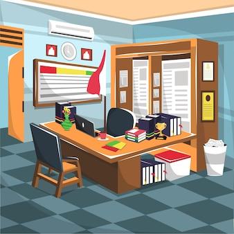 Pokój nauczycielski z szafką i komputerem