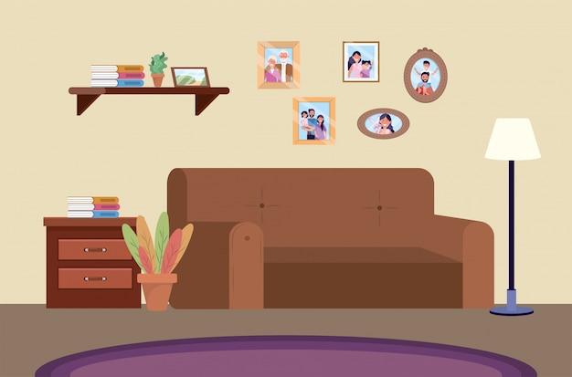 Pokój nurkowy z sofą i zdjęciami rodzinnymi