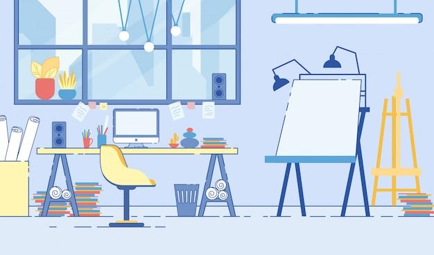 Pokój projektanta artysty, miejsce pracy. niechlujne wnętrze