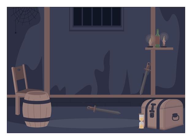 Pokój quest w jednolitym kolorze. meble do odgrywania ról na żywo. fantazyjna komnata z beczką i skrzynią. dark fantasy dungeon 2d kreskówka wnętrze ze ścianą na tle