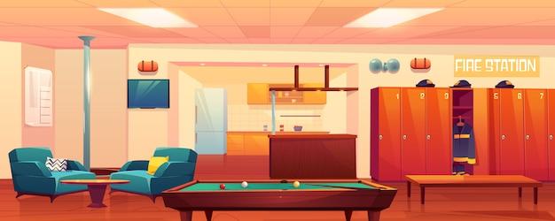 Pokój rekreacyjny straży pożarnej, puste wnętrze.