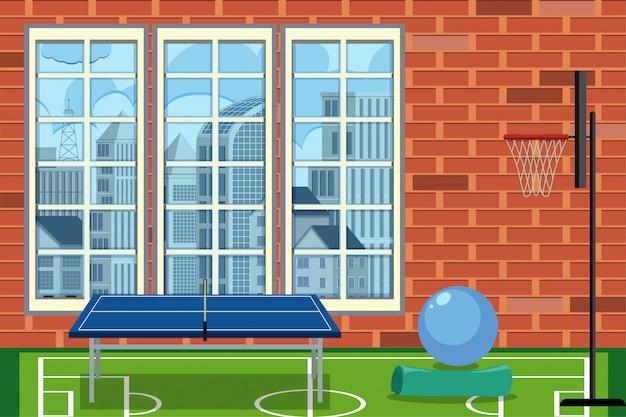 Pokój rekreacyjny w budynku ze stołem do tenisa stołowego i koszykówki