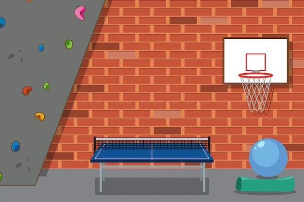 Pokój rekreacyjny ze ścianą wspinaczkową i stołem do ping ponga