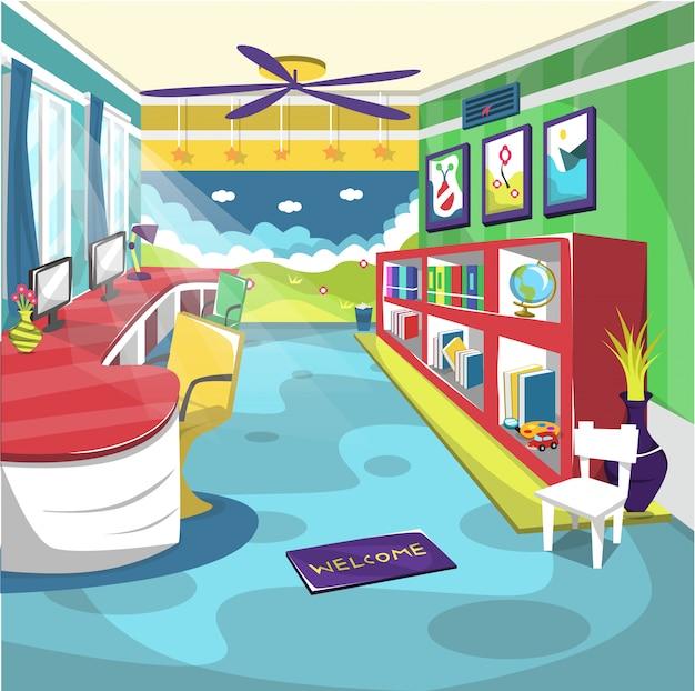 Pokój szkolny dla dzieci w bibliotece z wentylatorem sufitowym i malowaniem ścian
