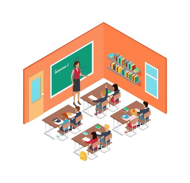 Pokój szkolny z nauczycielem i dziećmi przy biurkach