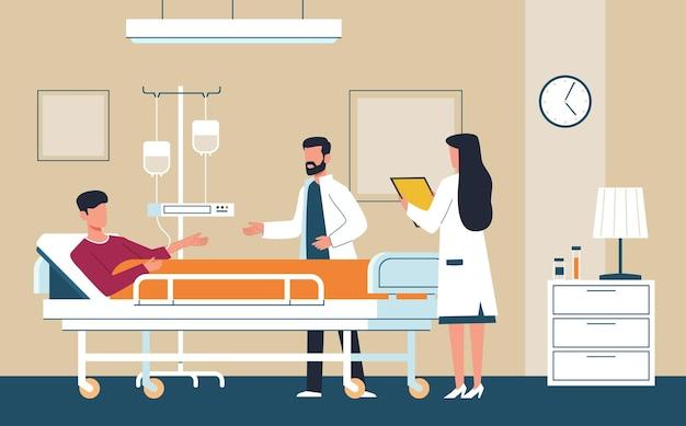 Pokój szpitalny. lekarz w mundurze i pielęgniarka zapewniają opiekę medyczną choremu pacjentowi na oddziale intensywnej terapii leżącym na łóżku, konsultacja i diagnoza nowoczesna pomoc wewnętrzna koncepcja opieki zdrowotnej płaski wektor