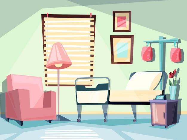 Pokój szpitalny. medyczne puste wnętrze z ilustracjami łóżko ambulatoryjne krzesło kanapa