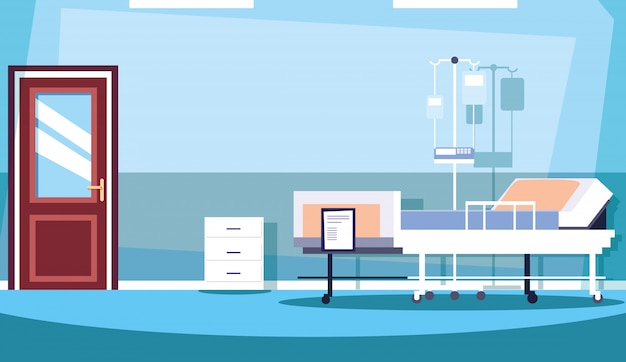 Pokój szpitalny wnętrze z wyposażeniem