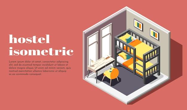 Pokój w hostelu z izometryczną ilustracją klasy ekonomicznej z łóżkiem piętrowym i krzesłem