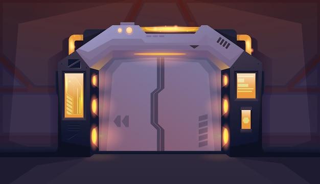 Pokój wewnętrzny statku kosmicznego z zamkniętymi drzwiami