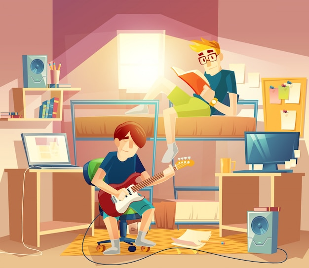 Pokój wieloosobowy ze współlokatorami, łóżkiem piętrowym, komputerami, stołem, głośnikami, półkami na książki