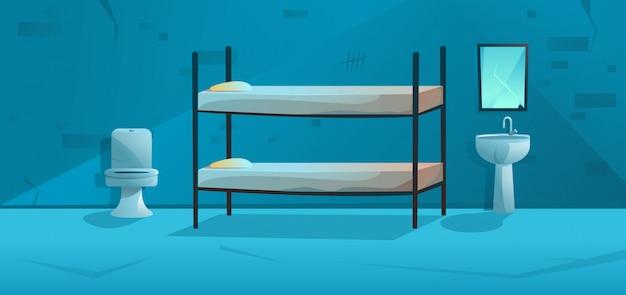 Pokój więzienny wnętrze celi więziennej z łóżkiem piętrowym