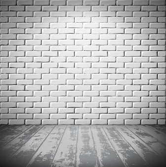 Pokój z białej cegły z drewnianą podłogą