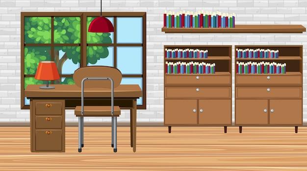 Pokój z biurkiem i półkami na książki