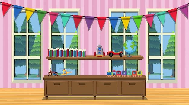 Pokój z drewnianą szafką i wieloma zabawkami