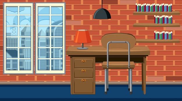 Pokój z drewnianym stołem i krzesłem