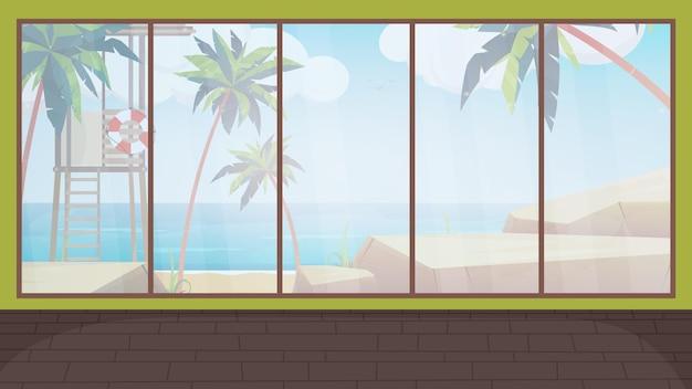 Pokój z dużym oknem panoramicznym z widokiem na morze. styl kreskówki, ilustracja.