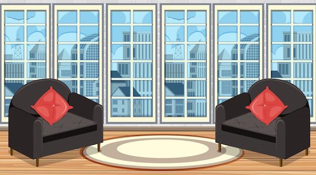 Pokój z dwiema szarą sofą i dywanem