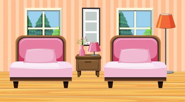 Pokój z dwoma dużymi krzesłami w różowym kolorze