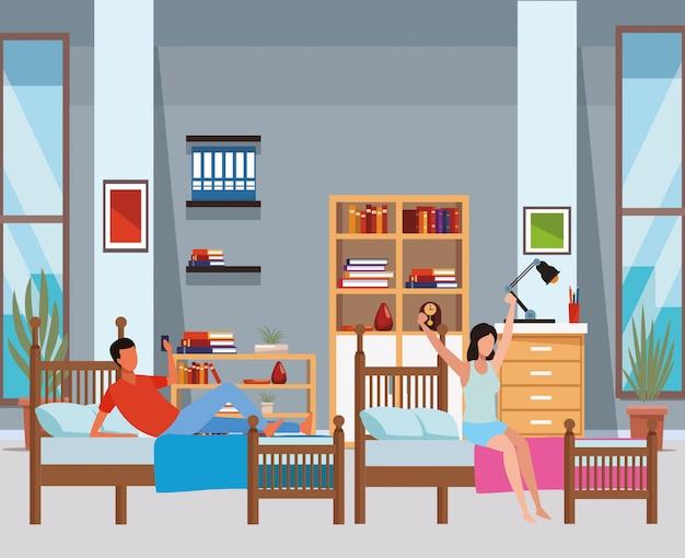 Pokój z dwoma łóżkami i osoby bez twarzy