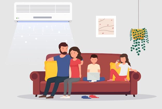 Pokój z klimatyzacją i ludźmi na kanapie. mężczyzna i kobieta z dziećmi w pokoju z chłodzeniem. koncepcja kontroli klimatu w pomieszczeniu.