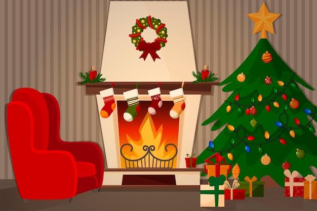 Pokój z kominkiem, fotelem i dekorowaną choinką.