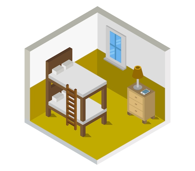 Pokój z łóżkiem izometrycznym
