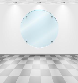 Pokój z okrągłą szklaną podstawką