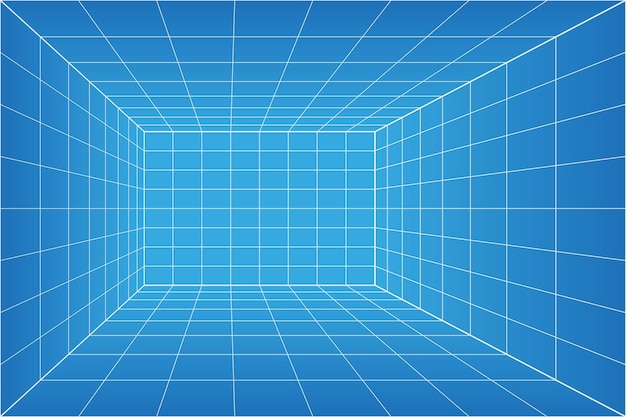 Pokój z planem perspektywy siatki. szkielet milimetra papieru tło. model technologii cyfrowej skrzynki cybernetycznej. wektor pusty szablon architektoniczny
